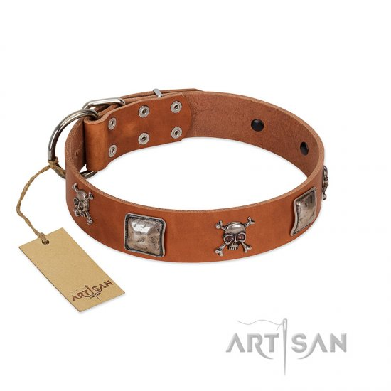 """Amorous Escapade"" Embellished FDT Artisan Tan Leather Newfoundland Collar with Chrome Plated Crossbones and Plates"