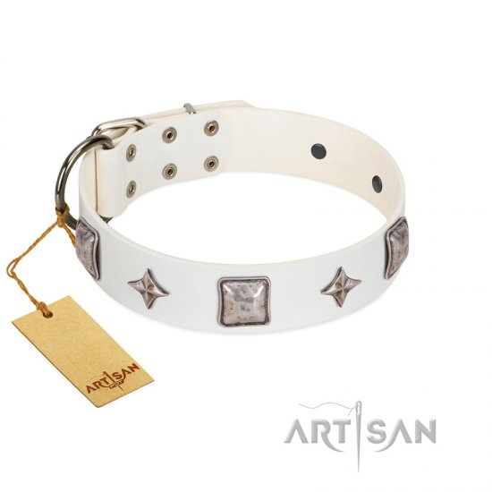 """Vanilla Ice"" FDT Artisan Handmade White Leather Newfoundland Collar with Silver-like Adornments"