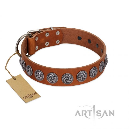 """Velvet Kiss"" Handmade FDT Artisan Tan Leather Newfoundland Collar with Vintage Medallions"
