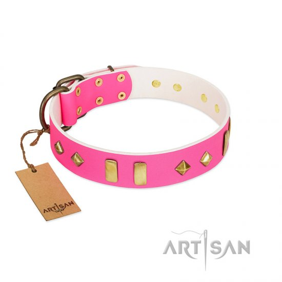 """Gentle Temptation"" FDT Artisan Pink Leather Newfoundland Collar with Goldish Plates and Studs"