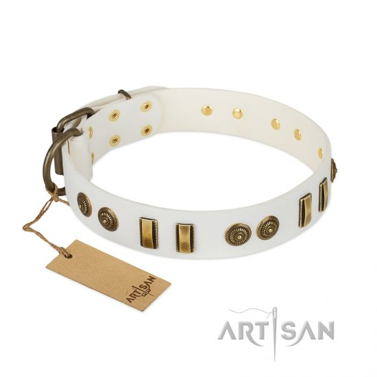 """Midsummer Snow"" FDT Artisan White Leather Newfoundland Collar with Old Bronze-like Plates and Circles"
