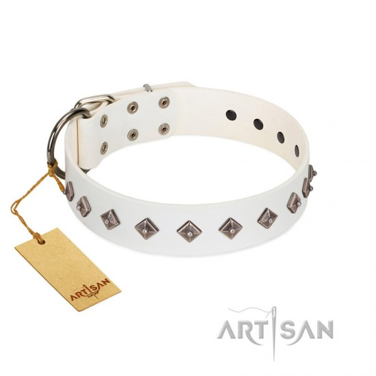 """Snowy Day"" Stylish FDT Artisan White Leather Newfoundland Collar with Small Dotted Pyramids"