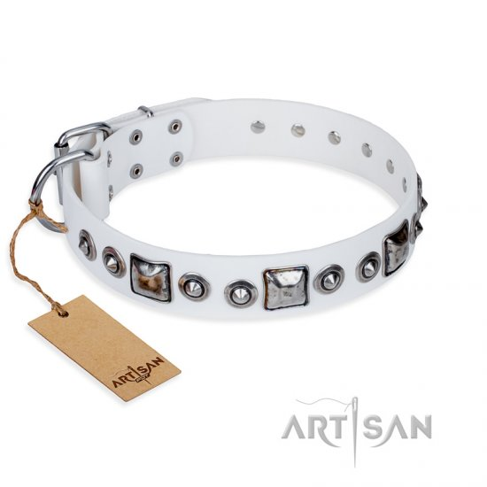 """Lustre of Fame\"" FDT Artisan White Studded Leather Newfoundland Collar"