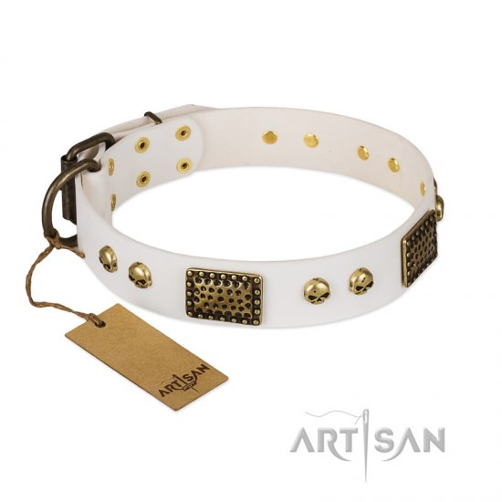 """Lost Treasures"" FDT Artisan White Leather Newfoundland Collar with Old Bronze Look Plates and Skulls"