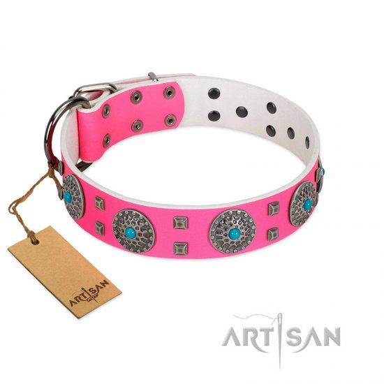 """Pink Delight"" FDT Artisan Pink Leather Newfoundland Collar for Everyday Walking"