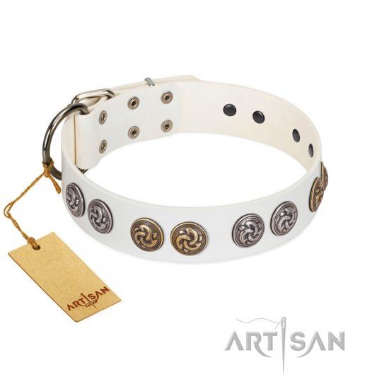 """White Moonlight"" FDT Artisan White Leather Newfoundland Collar with Elegant Decorations"