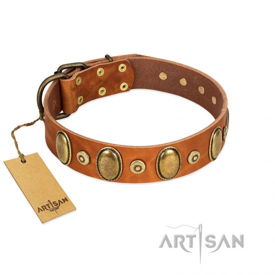 """Crystal Sand"" FDT Artisan Tan Leather Newfoundland Collar with Vintage Looking Oval and Round Studs"