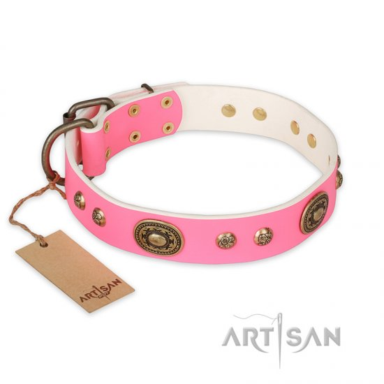 """Sensational Beauty"" FDT Artisan Pink Leather Newfoundland Collar with Old Bronze Look Plates and Studs"