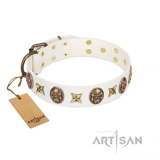 """Fads and Fancies"" FDT Artisan White Leather Newfoundland Collar with Stars and Skulls"