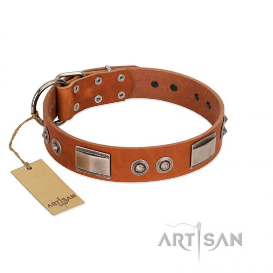 """Pawsy Glossy"" FDT Artisan Exclusive Tan Leather Newfoundland Collar 1 1/2 inch (40 mm) wide"