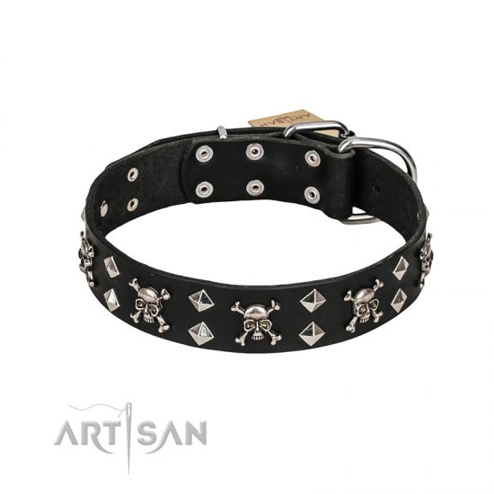 FDT Artisan 'Rock 'n' Roll Style' Fancy Leather Newfoundland Collar with Skulls, Bones and Studs 1 1/2 inch (40 mm) wide