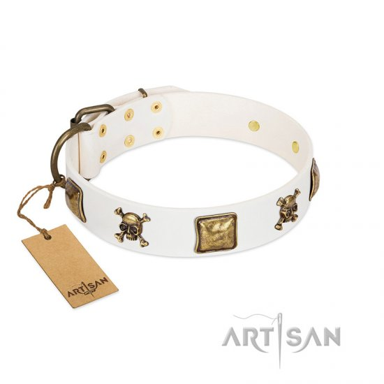 """Glo Up"" FDT Artisan White Leather Newfoundland Collar with Skulls and Crossbones Combined with Squares"