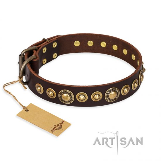 """Ancient Warrior"" FDT Artisan Fancy Leather Newfoundland Collar with Old-Bronze Plated Decorations"
