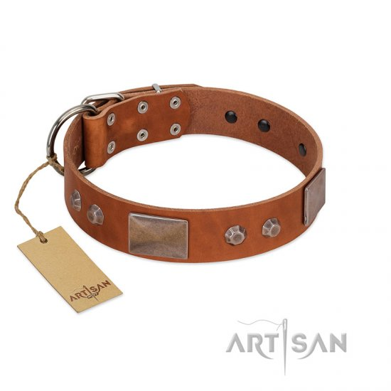"""Great Obelisk"" Handcrafted FDT Artisan Tan Leather Newfoundland Collar with Large Plates and Pyramids"