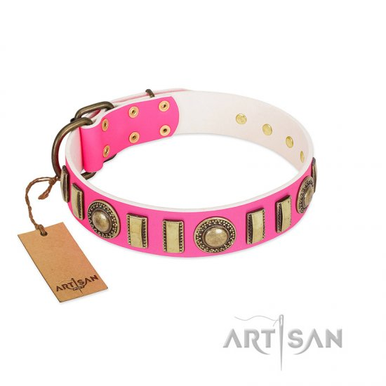 """La Femme"" FDT Artisan Pink Leather Newfoundland Collar with Ornate Brooches and Small Plates"