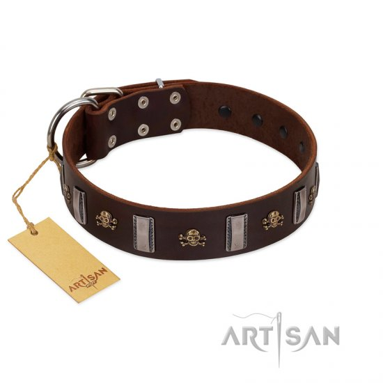 """War Chief"" FDT Artisan Genuine Brown Leather Newfoundland Collar with Skulls and Plates"