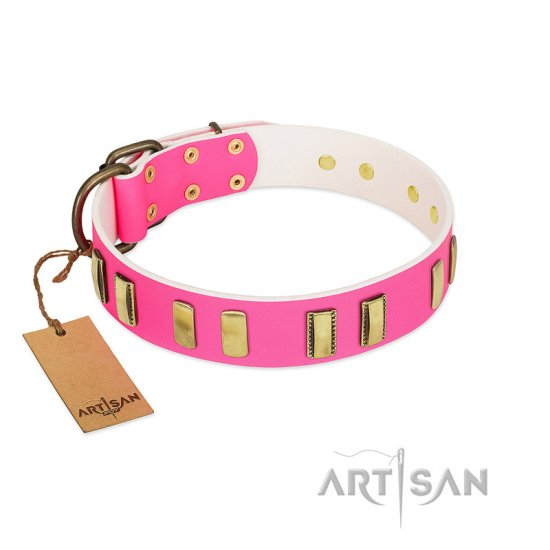 """Rubicund Frill"" FDT Artisan Pink Leather Newfoundland Collar with Engraved and Smooth Plates"