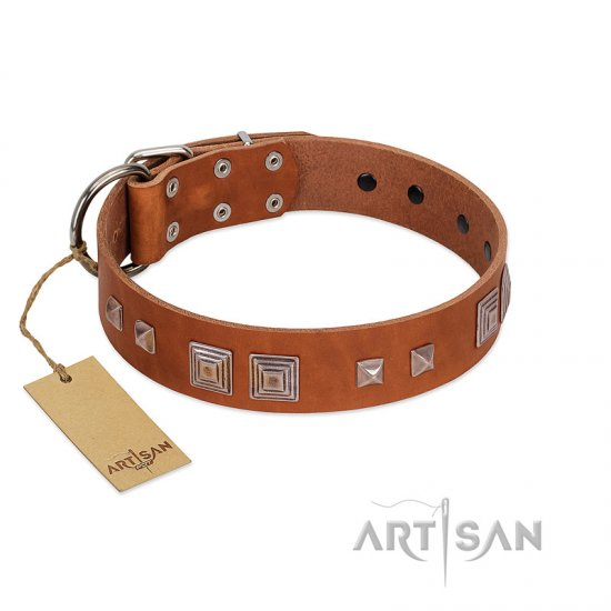 """Egyptian Gifts"" Handmade FDT Artisan Tan Leather Newfoundland Collar with Chrome-plated Pyramids"