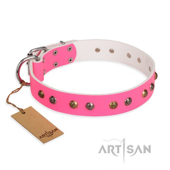"""Sheer love"" Pink Leather FDT Artisan Newfoundland Collar with Old-look Hemisphere Studs"