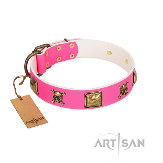 """Wild and Free"" FDT Artisan Pink Leather Newfoundland Collar with Skulls and Crossbones Combined with Squares"