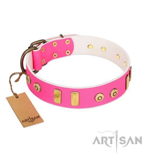 """Prim'N'Proper"" Handmade FDT Artisan Pink Leather Newfoundland Collar with Old Bronze-like Dotted Studs and Tiles"