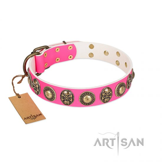"""Two Extremes"" FDT Artisan Pink Leather Newfoundland Collar with Elegant Conchos and Medallions with Skulls"