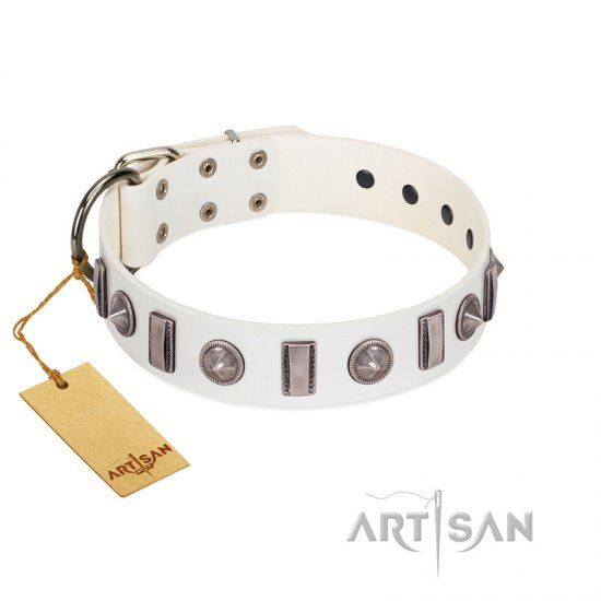 """Icy Spike"" Designer FDT Artisan White Leather Newfoundland Collar with Silver-Like Decorations"