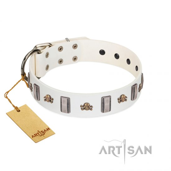 """Mysterious Voyage"" FDT Artisan White Leather Newfoundland Collar with Engraved Plates and Skulls"
