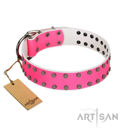 """Pink Fashion"" Designer FDT Artisan Pink Leather Newfoundland Collar with Silver-Like Studs"