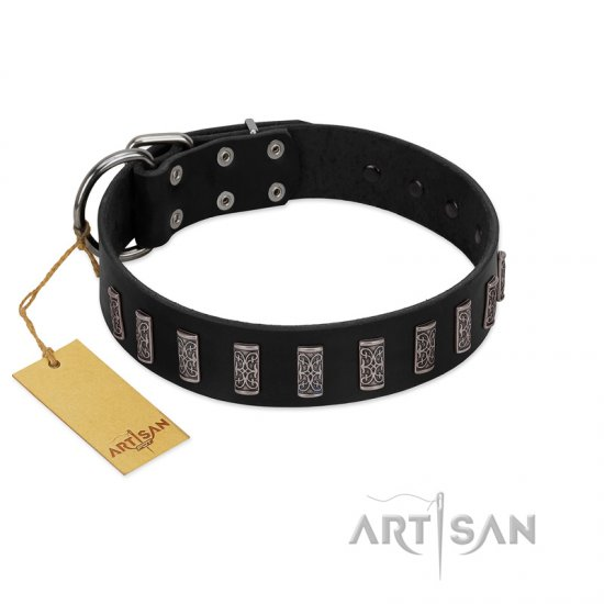"""Black Prince"" Handmade FDT Artisan Black Leather Newfoundland Collar with Silver-Like Adornments"