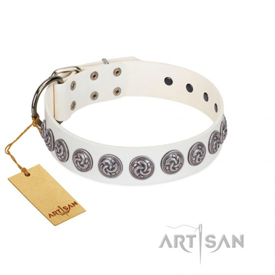 """Bohemian Spirit"" Handmade FDT Artisan White Leather Newfoundland Collar with Vintage Decorations"