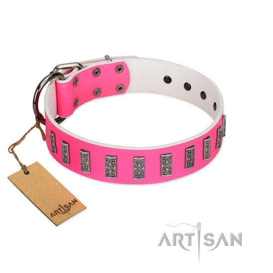 """Pink Necklace"" Handmade FDT Artisan Pink Leather Newfoundland Collar with Silver-Like Decorations"