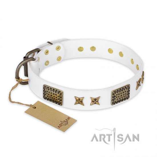 """Hour of Triumph"" FDT Artisan White Leather Newfoundland Collar"