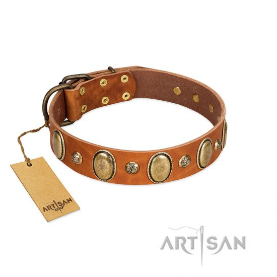 """Venus Breath"" FDT Artisan Tan Leather Newfoundland Collar with Vintage Looking Oval and Round Studs"