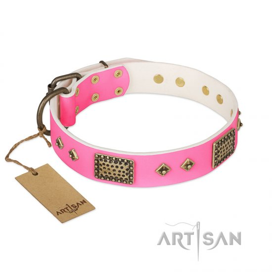 """Frenzy Candy"" FDT Artisan Decorated Pink Leather Newfoundland Collar"