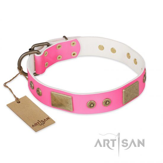 """Pink World"" FDT Artisan Pink Leather Newfoundland Collar with Old Bronze Look Plates and Studs"