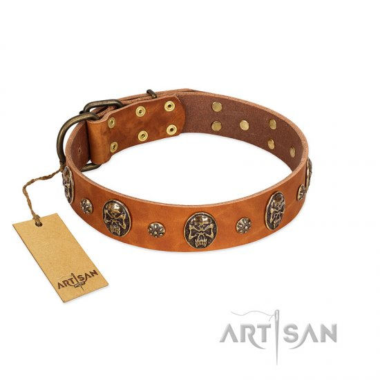 """Rockstar"" FDT Artisan Tan Leather Newfoundland Collar with Engraved Studs and Medallions"