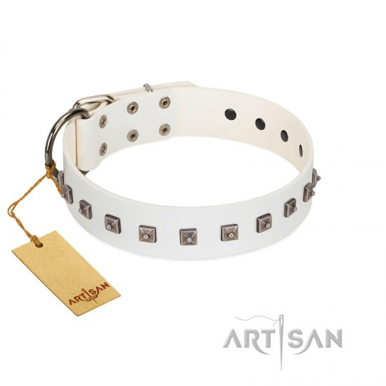 """True Grace"" Premium Quality FDT Artisan White Designer Leather Newfoundland Collar"