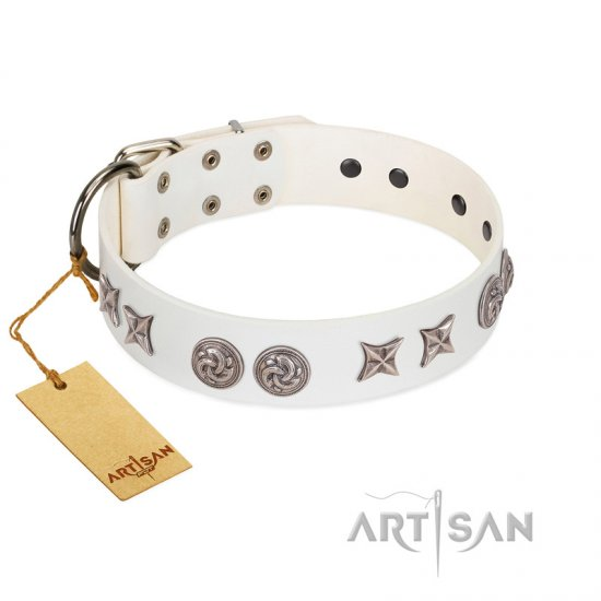 """Galaxy Hunter"" FDT Artisan White Leather Newfoundland Collar with Engraved Brooches and Stars"