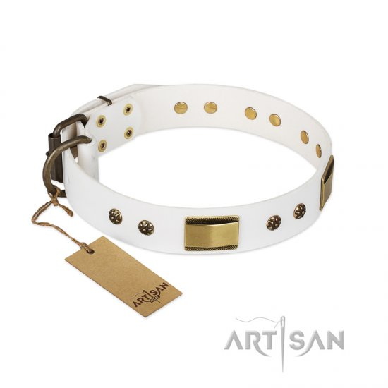 """Precious Necklace"" FDT Artisan White Leather Newfoundland Collar with Old Bronze Look Plates and Studs"
