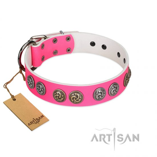 """Pink Butterfly"" Designer FDT Artisan Pink Leather Newfoundland Collar with Round Studs"