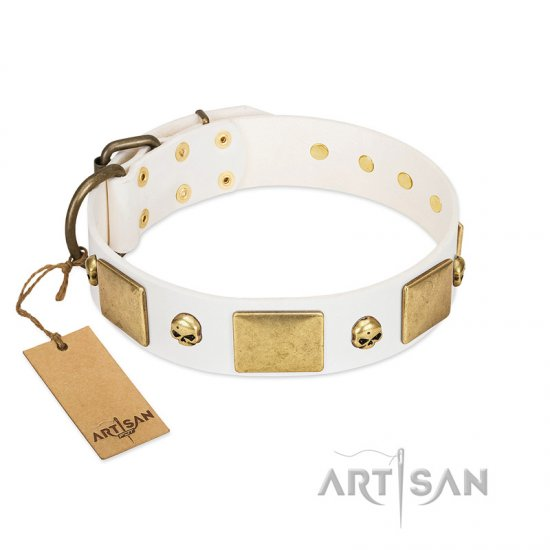 """Inspiration"" FDT Artisan White Leather Newfoundland Collar with Antiqued Skulls and Plates"