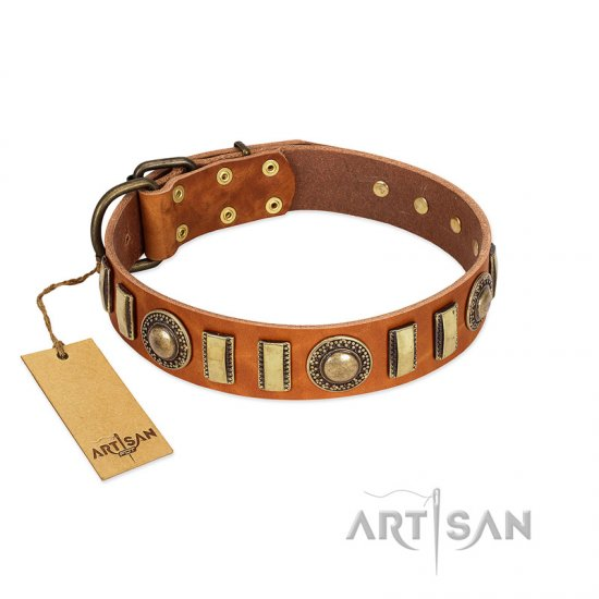 """Happy Hound"" FDT Artisan Tan Leather Newfoundland Collar with Elegant Decorations"