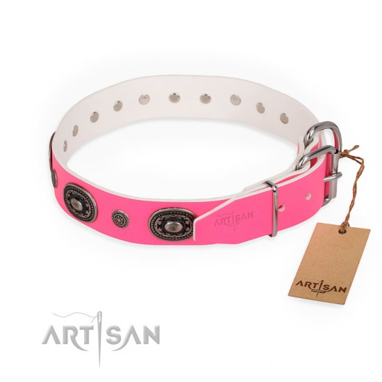 """Flavor of Strawberry"" FDT Artisan Flashy Pink Leather Newfoundland Collar"