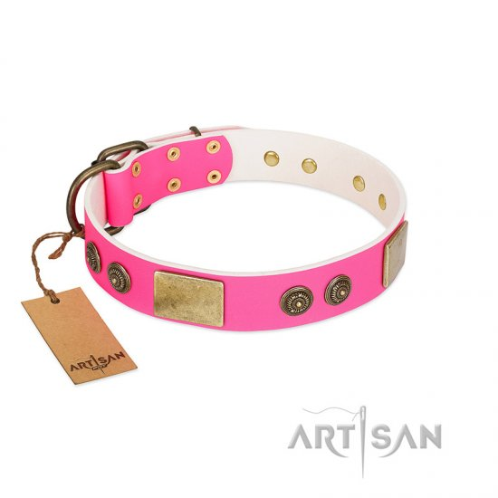 """Queen's Whim"" FDT Artisan Fancy Walking Pink Leather Newfoundland Collar Adorned with Old Bronze-like Plates and Studs"