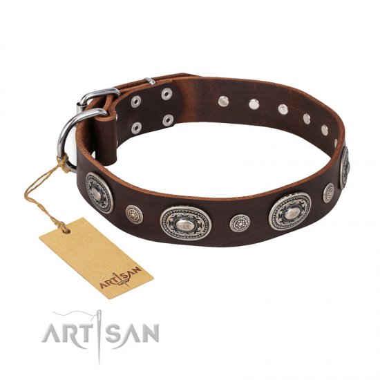 """Extra Pizzazz"" FDT Artisan Adorned Brown Leather Newfoundland Collar"
