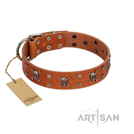 """Rebellious Nature"" FDT Artisan Tan Leather Newfoundland Collar Embellished with Crossbones and Square Studs"