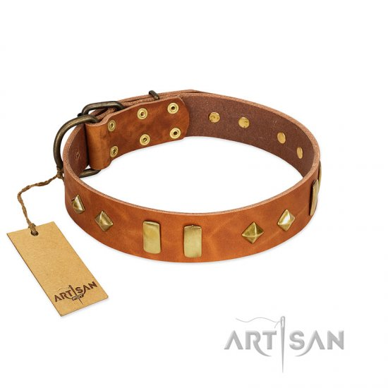 """Woofy Dawn"" FDT Artisan Tan Leather Newfoundland Collar with Plates and Rhombs"