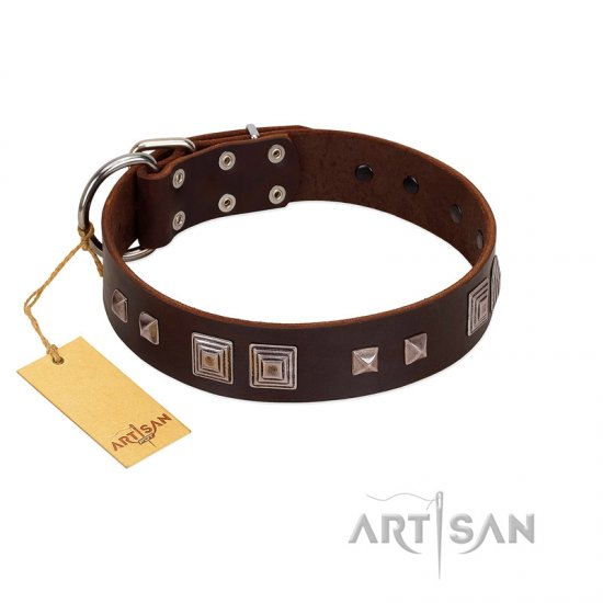 """Object of Virtu"" FDT Artisan Brown Leather Newfoundland Collar with Old Silver-like Square Studs and Pyramids"