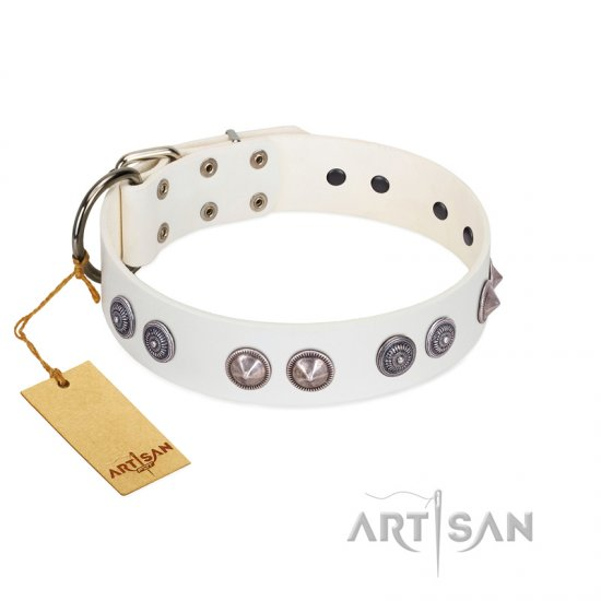 """Ancient Mystery"" FDT Artisan Handmade White Leather Newfoundland Collar with Silver-like Fitting"